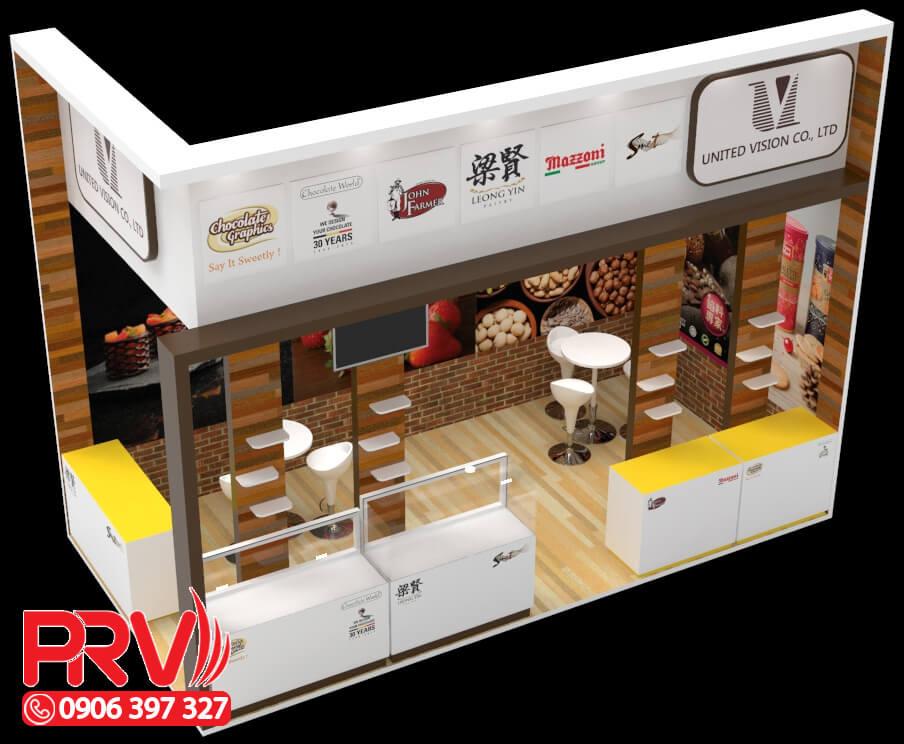 thiết kế gian hàng hội chợ và thiết kế booth trưng bày