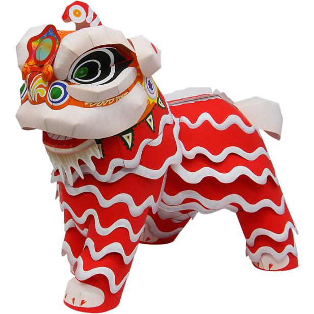 papercraft lion dance trang trí tết handmade